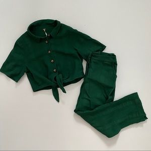 NWT free people size med green 2 piece set